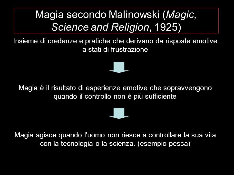 Magia secondo Malinowski (Magic, Science and Religion, 1925) Insieme di credenze e pratiche che derivano da risposte emotive a stati di frustrazione M