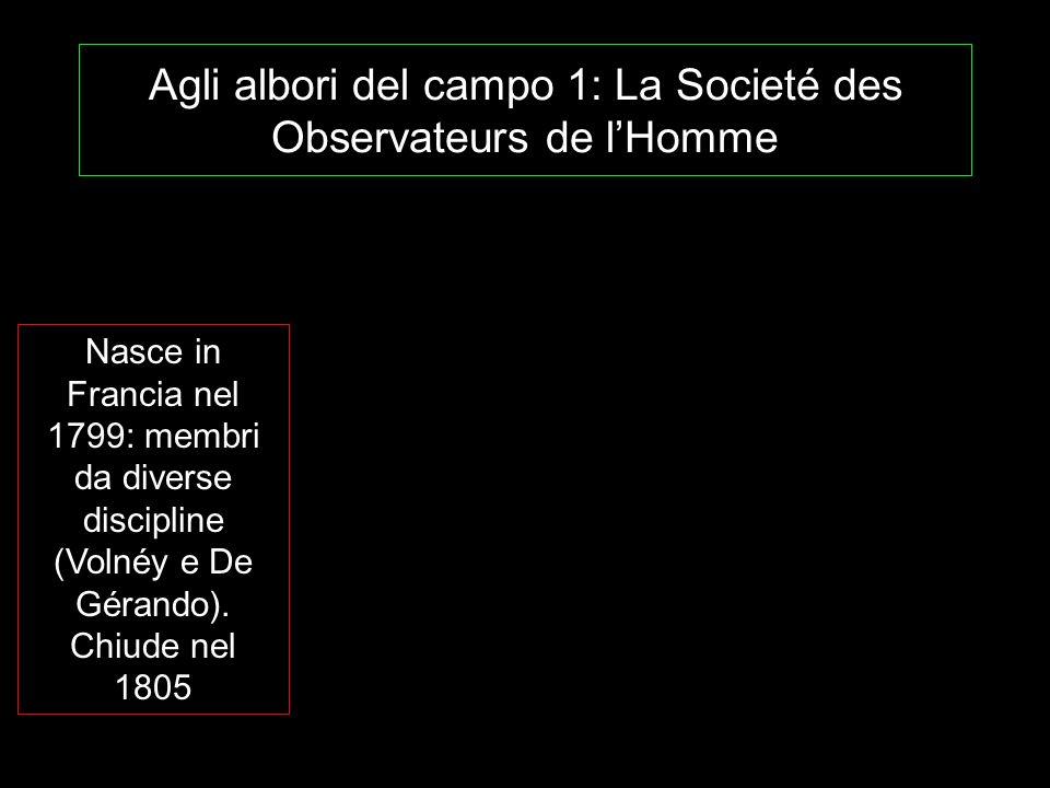 Agli albori del campo 1: La Societé des Observateurs de lHomme Nasce in Francia nel 1799: membri da diverse discipline (Volnéy e De Gérando). Chiude n