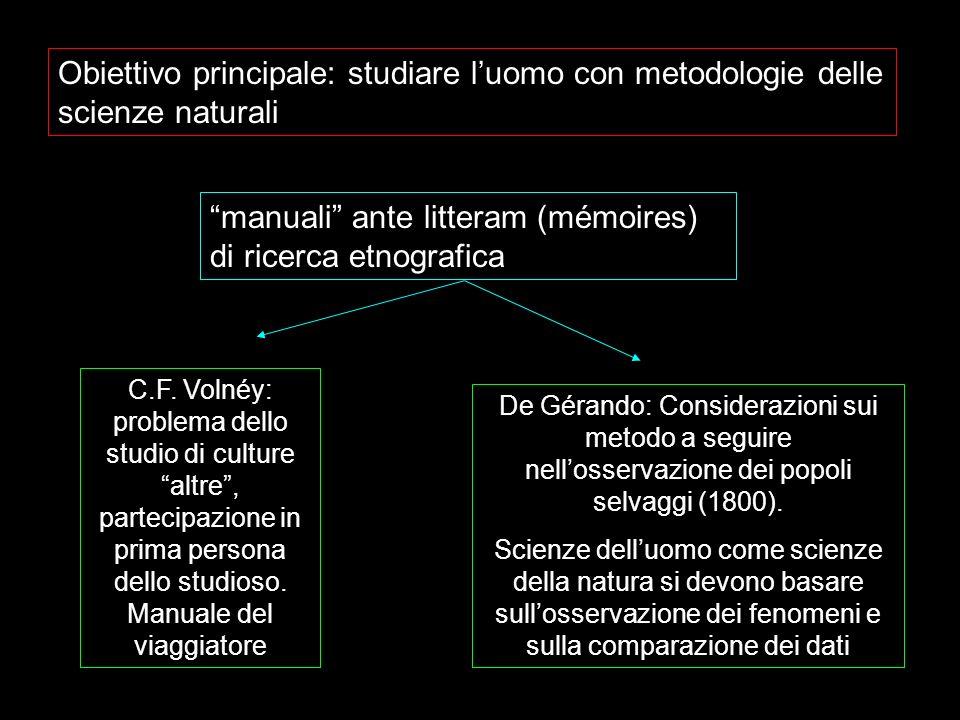 Obiettivo principale: studiare luomo con metodologie delle scienze naturali manuali ante litteram (mémoires) di ricerca etnografica C.F. Volnéy: probl