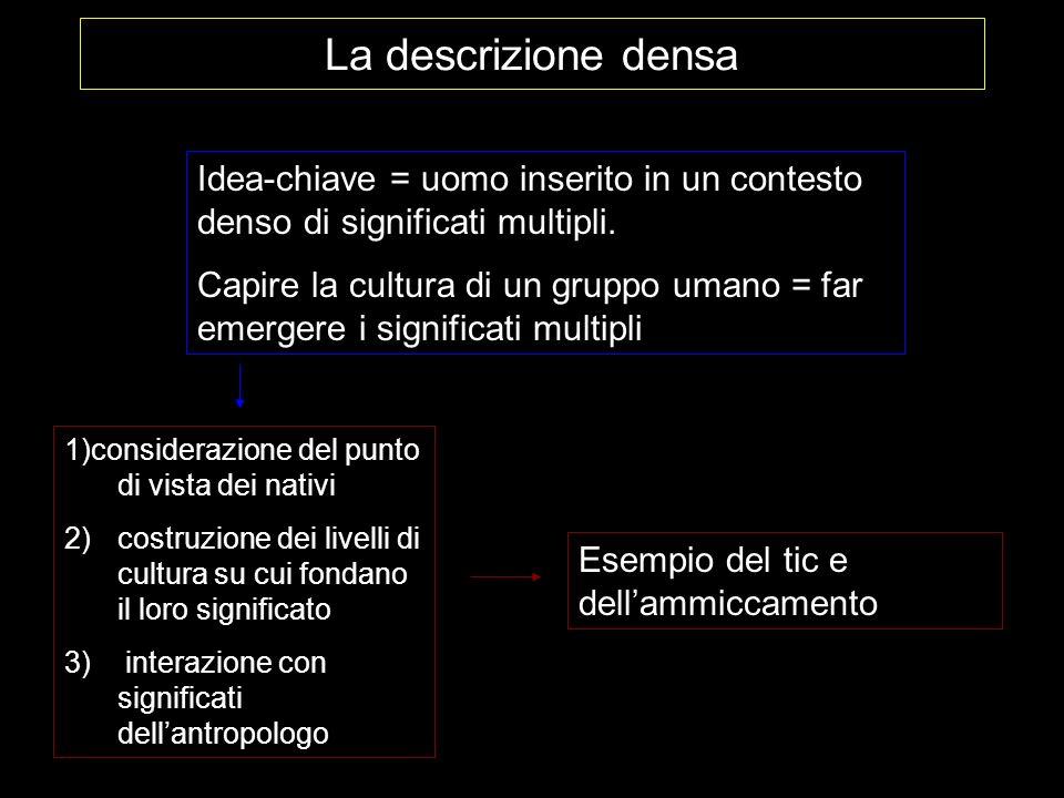 La descrizione densa Idea-chiave = uomo inserito in un contesto denso di significati multipli. Capire la cultura di un gruppo umano = far emergere i s