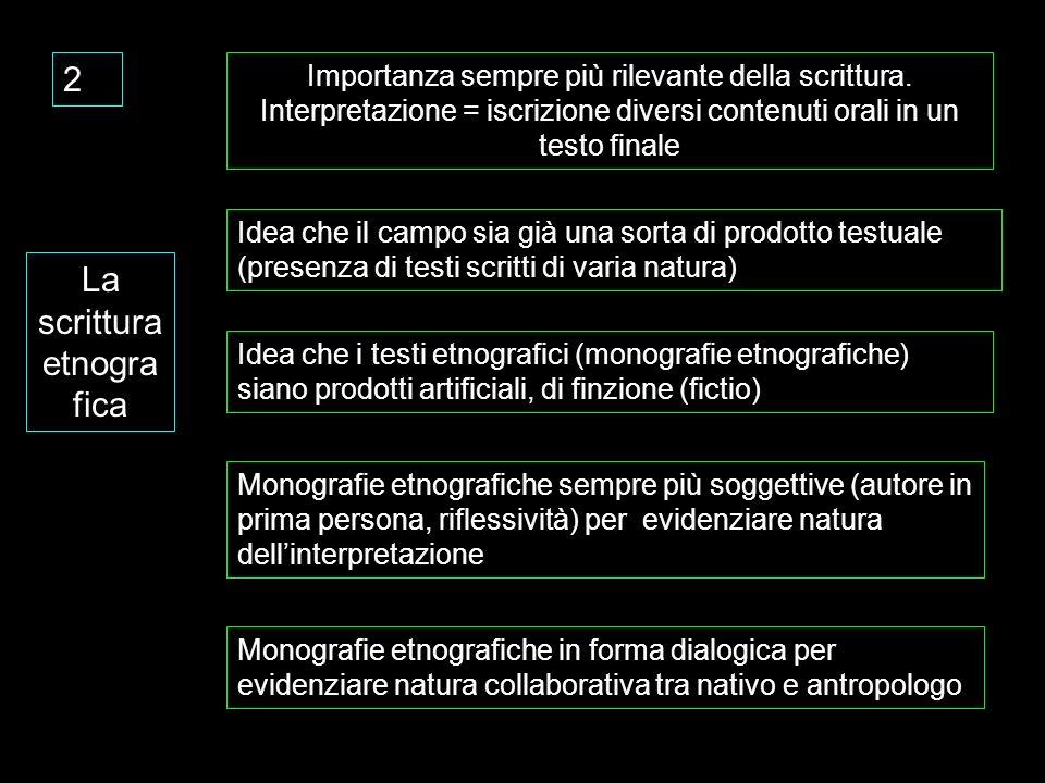 2 La scrittura etnogra fica Importanza sempre più rilevante della scrittura. Interpretazione = iscrizione diversi contenuti orali in un testo finale I