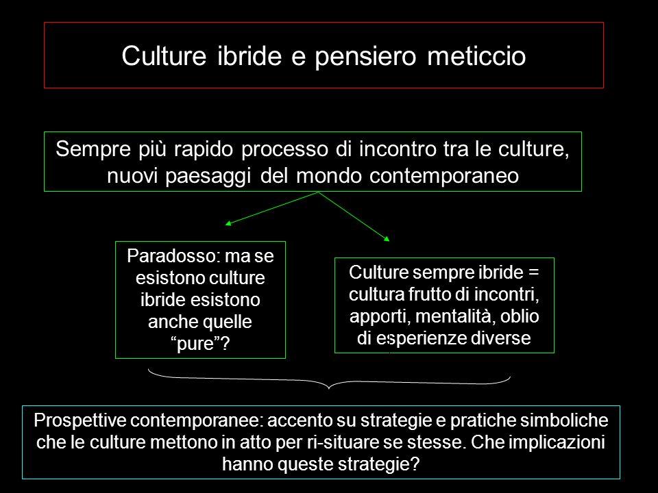 Culture ibride e pensiero meticcio Sempre più rapido processo di incontro tra le culture, nuovi paesaggi del mondo contemporaneo Paradosso: ma se esis