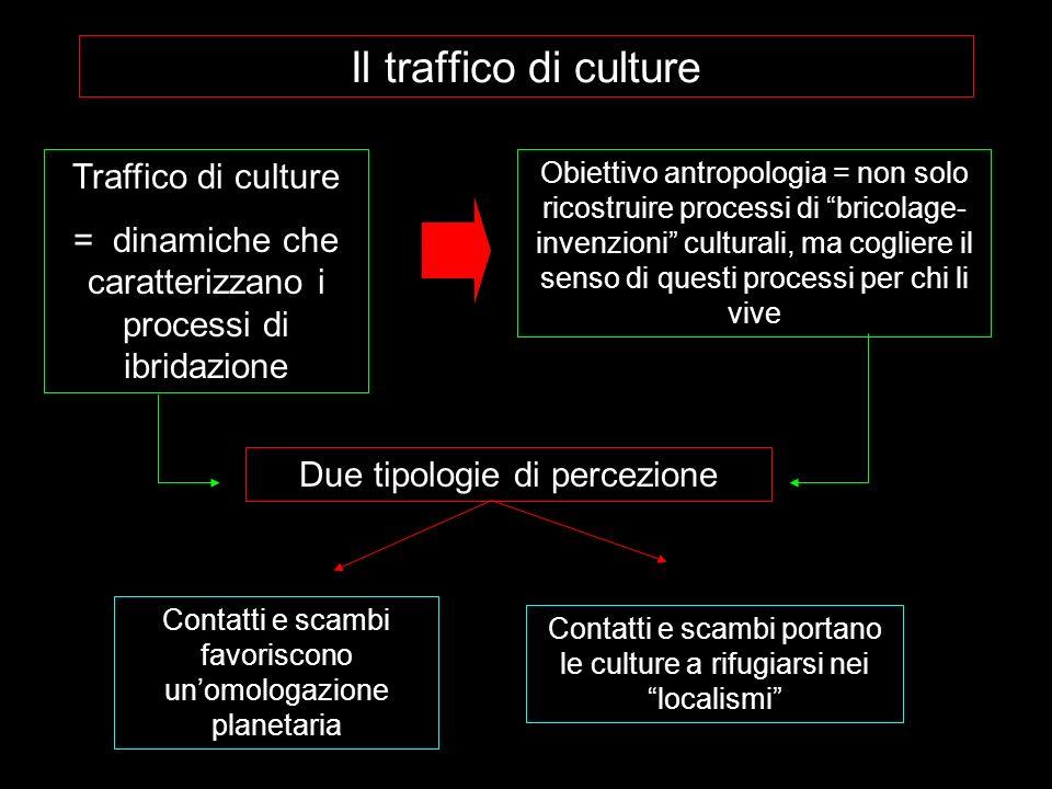 Il traffico di culture Traffico di culture = dinamiche che caratterizzano i processi di ibridazione Obiettivo antropologia = non solo ricostruire proc