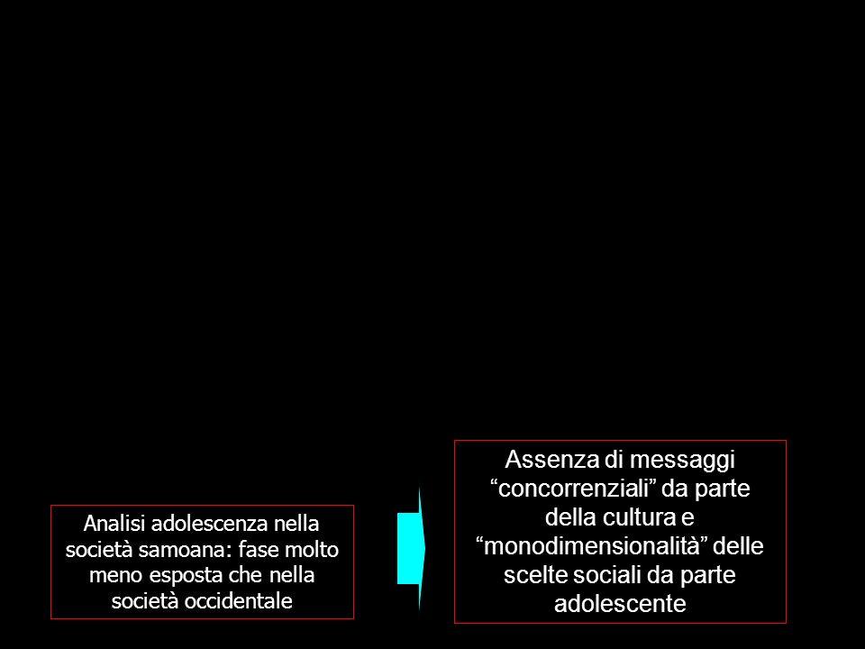 Analisi adolescenza nella società samoana: fase molto meno esposta che nella società occidentale Assenza di messaggi concorrenziali da parte della cul