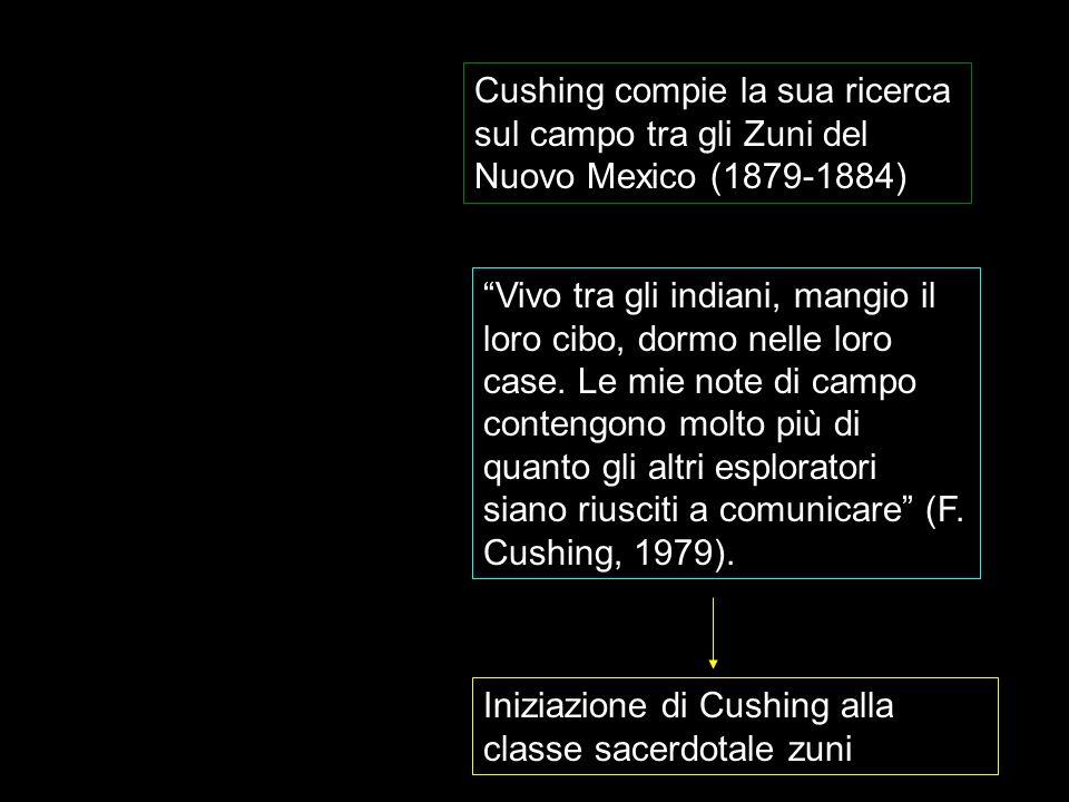 Cushing compie la sua ricerca sul campo tra gli Zuni del Nuovo Mexico (1879-1884) Vivo tra gli indiani, mangio il loro cibo, dormo nelle loro case. Le