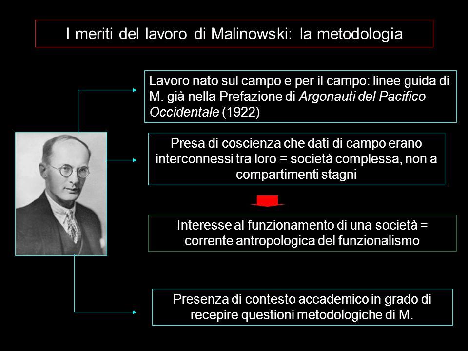 I meriti del lavoro di Malinowski: la metodologia Presenza di contesto accademico in grado di recepire questioni metodologiche di M. Presa di coscienz