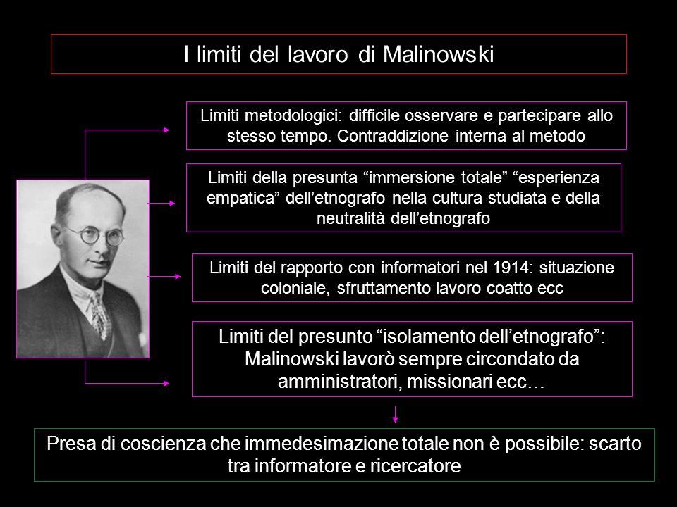 I limiti del lavoro di Malinowski Limiti metodologici: difficile osservare e partecipare allo stesso tempo. Contraddizione interna al metodo Presa di