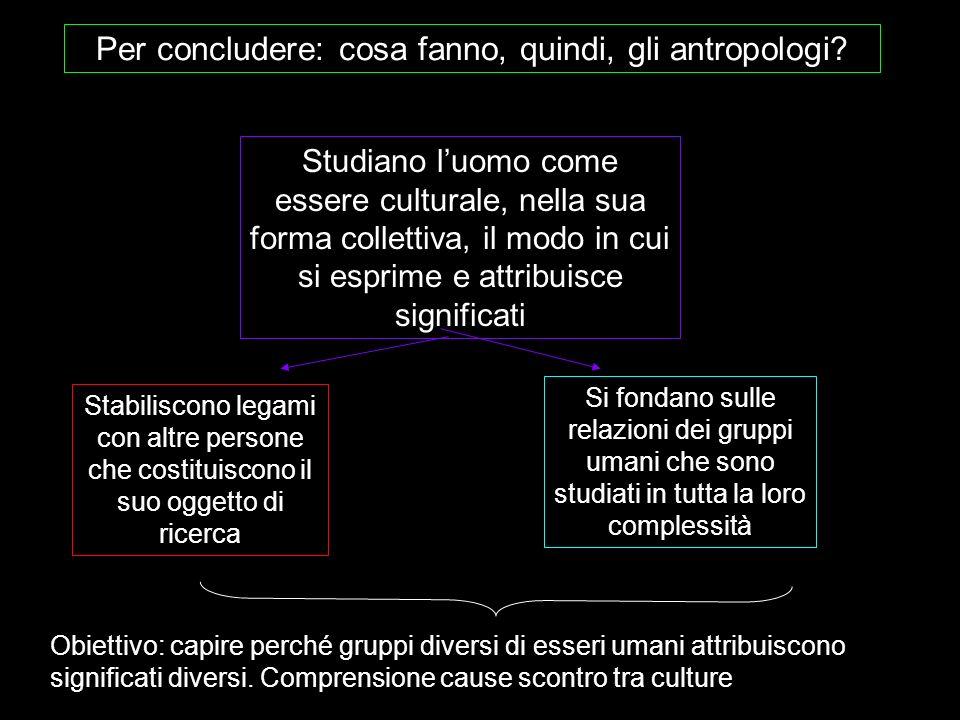 Per concludere: cosa fanno, quindi, gli antropologi? Stabiliscono legami con altre persone che costituiscono il suo oggetto di ricerca Si fondano sull