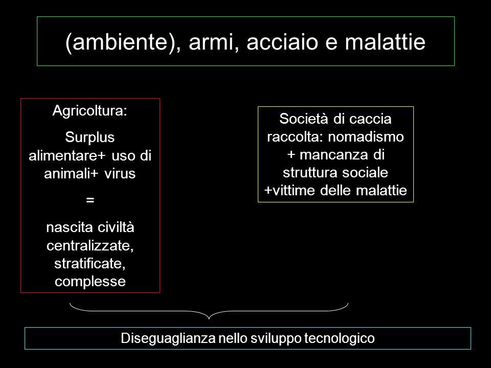 (ambiente), armi, acciaio e malattie Agricoltura: Surplus alimentare+ uso di animali+ virus = nascita civiltà centralizzate, stratificate, complesse S