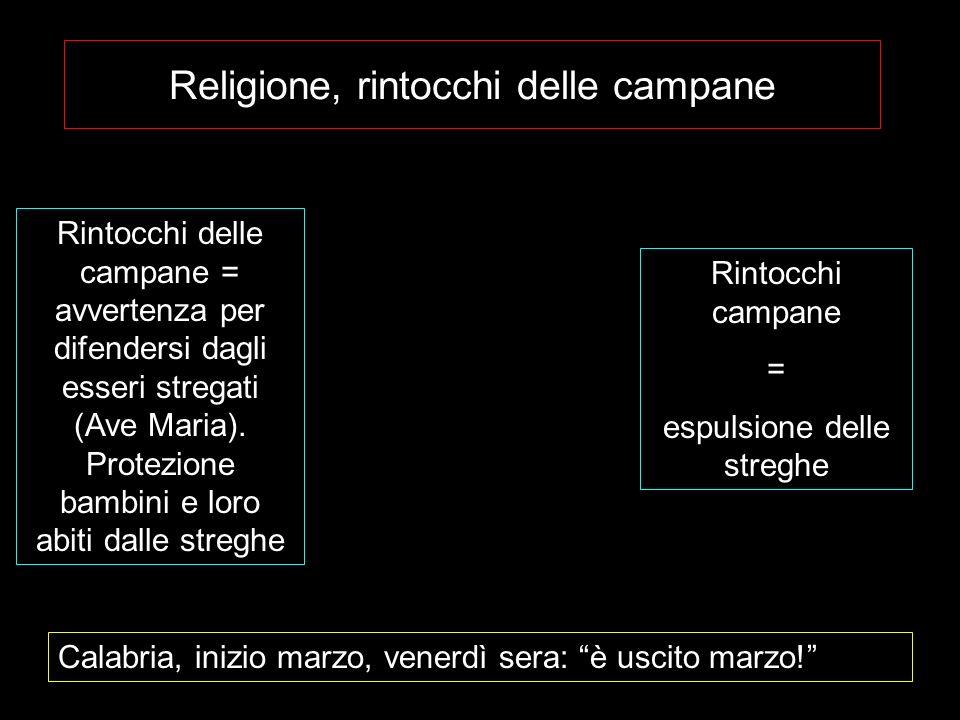 Religione, rintocchi delle campane Rintocchi delle campane = avvertenza per difendersi dagli esseri stregati (Ave Maria). Protezione bambini e loro ab