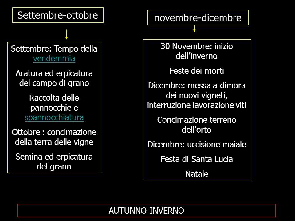 Settembre-ottobre novembre-dicembre Settembre: Tempo della vendemmia vendemmia Aratura ed erpicatura del campo di grano Raccolta delle pannocchie e sp