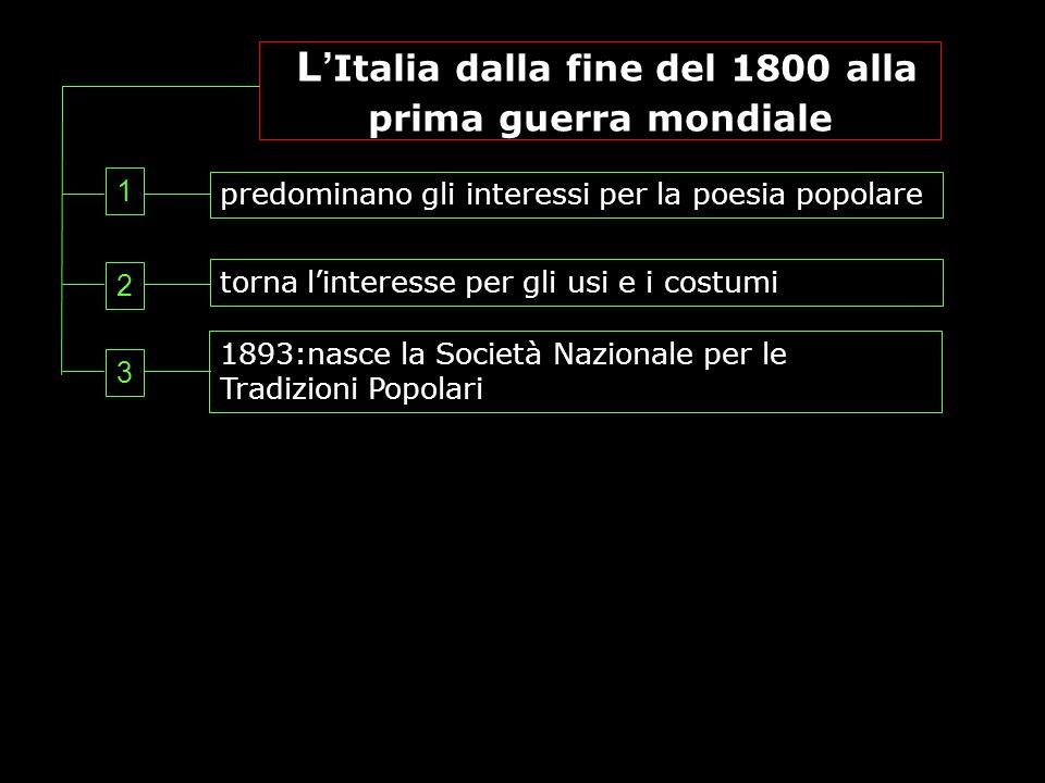 L Italia dalla fine del 1800 alla prima guerra mondiale predominano gli interessi per la poesia popolare torna linteresse per gli usi e i costumi 1893