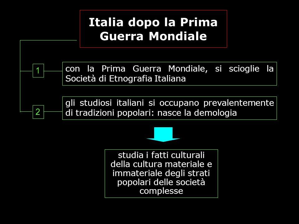 Italia dopo la Prima Guerra Mondiale con la Prima Guerra Mondiale, si scioglie la Società di Etnografia Italiana gli studiosi italiani si occupano pre