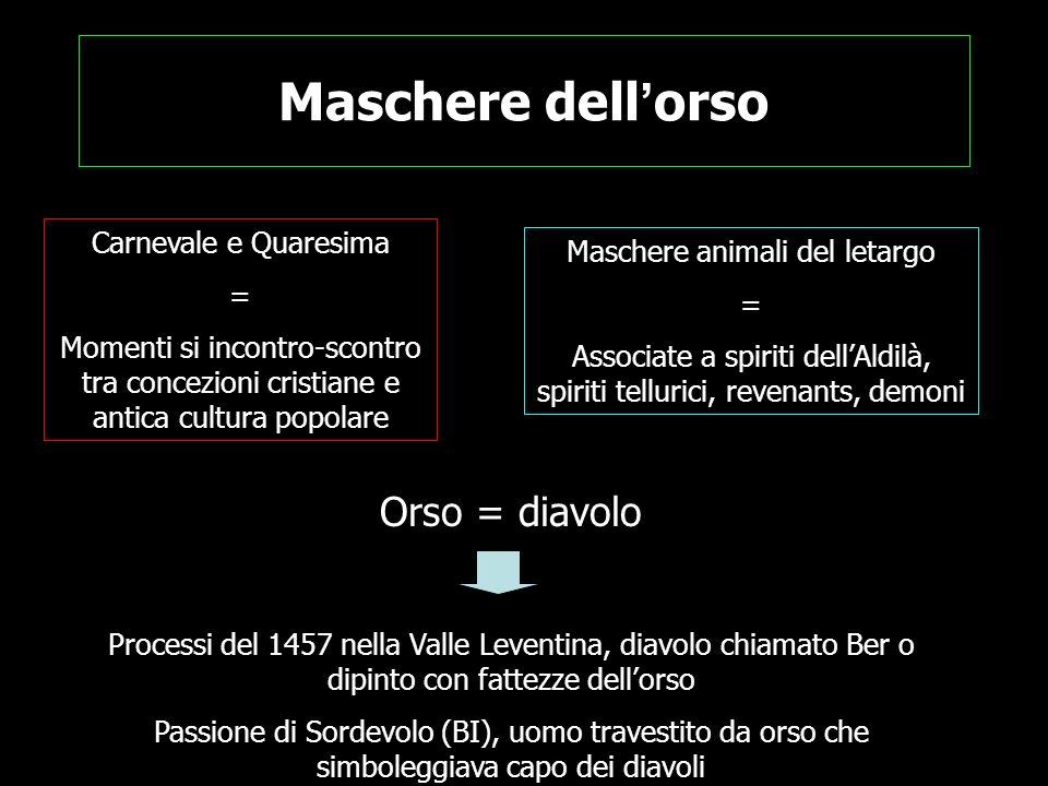 Maschere dell orso Carnevale e Quaresima = Momenti si incontro-scontro tra concezioni cristiane e antica cultura popolare Maschere animali del letargo