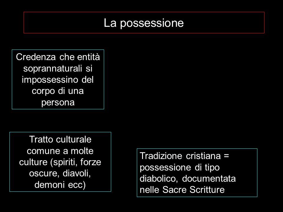 La possessione Credenza che entità soprannaturali si impossessino del corpo di una persona Tratto culturale comune a molte culture (spiriti, forze osc