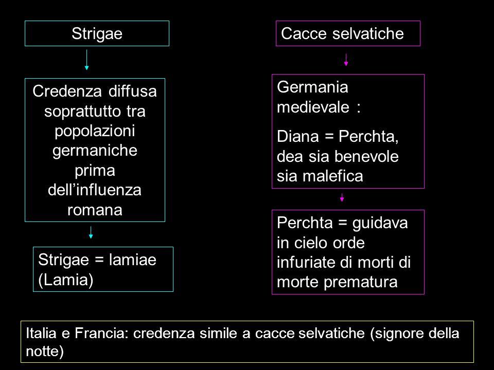 Strigae Credenza diffusa soprattutto tra popolazioni germaniche prima dellinfluenza romana Strigae = lamiae (Lamia) Cacce selvatiche Germania medieval