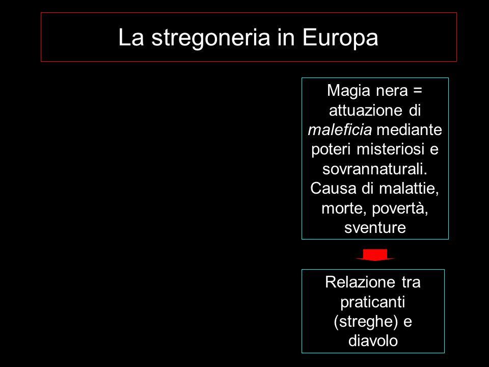 La stregoneria in Europa Magia nera = attuazione di maleficia mediante poteri misteriosi e sovrannaturali. Causa di malattie, morte, povertà, sventure