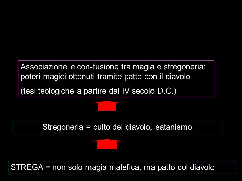 STREGA = non solo magia malefica, ma patto col diavolo Stregoneria = culto del diavolo, satanismo Associazione e con-fusione tra magia e stregoneria: