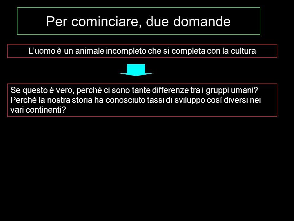 Luomo è un animale incompleto che si completa con la cultura Per cominciare, due domande Se questo è vero, perché ci sono tante differenze tra i grupp