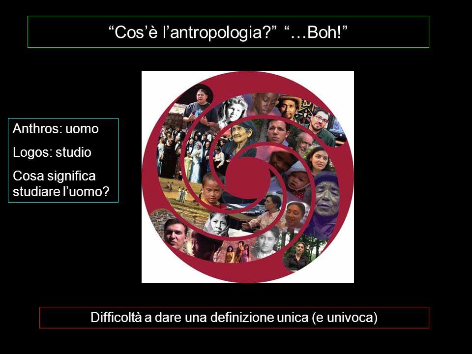 Cosè lantropologia? …Boh! Difficoltà a dare una definizione unica (e univoca) Anthros: uomo Logos: studio Cosa significa studiare luomo?