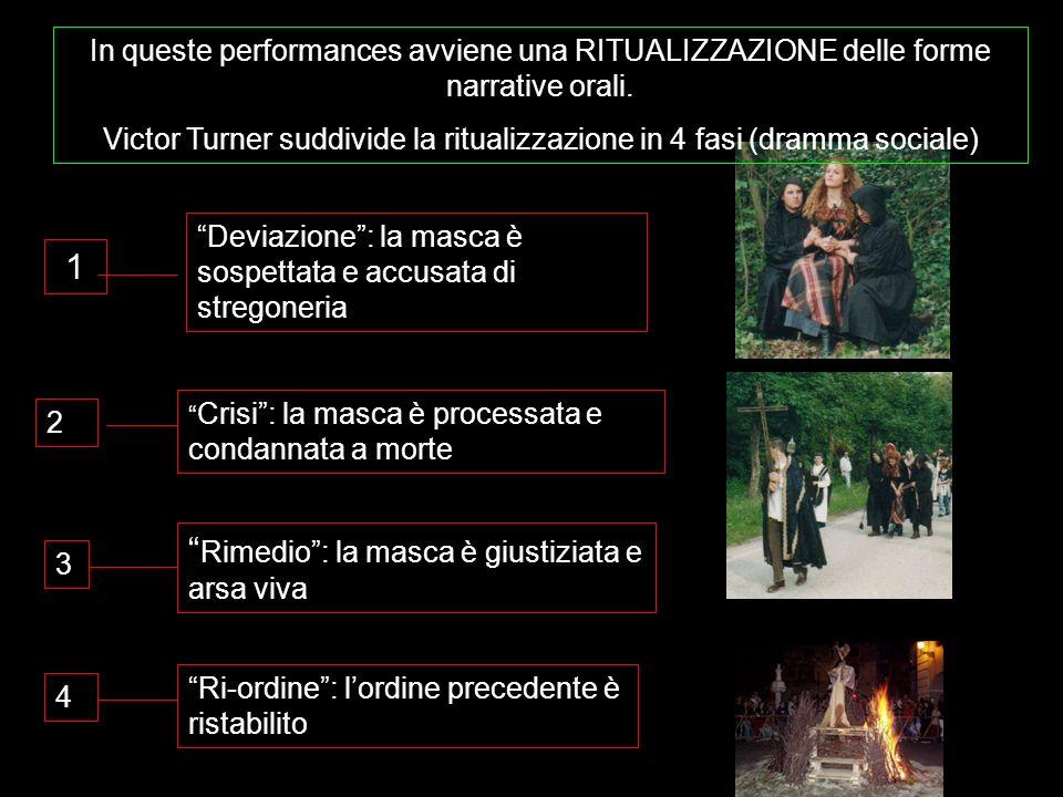 In queste performances avviene una RITUALIZZAZIONE delle forme narrative orali. Victor Turner suddivide la ritualizzazione in 4 fasi (dramma sociale)