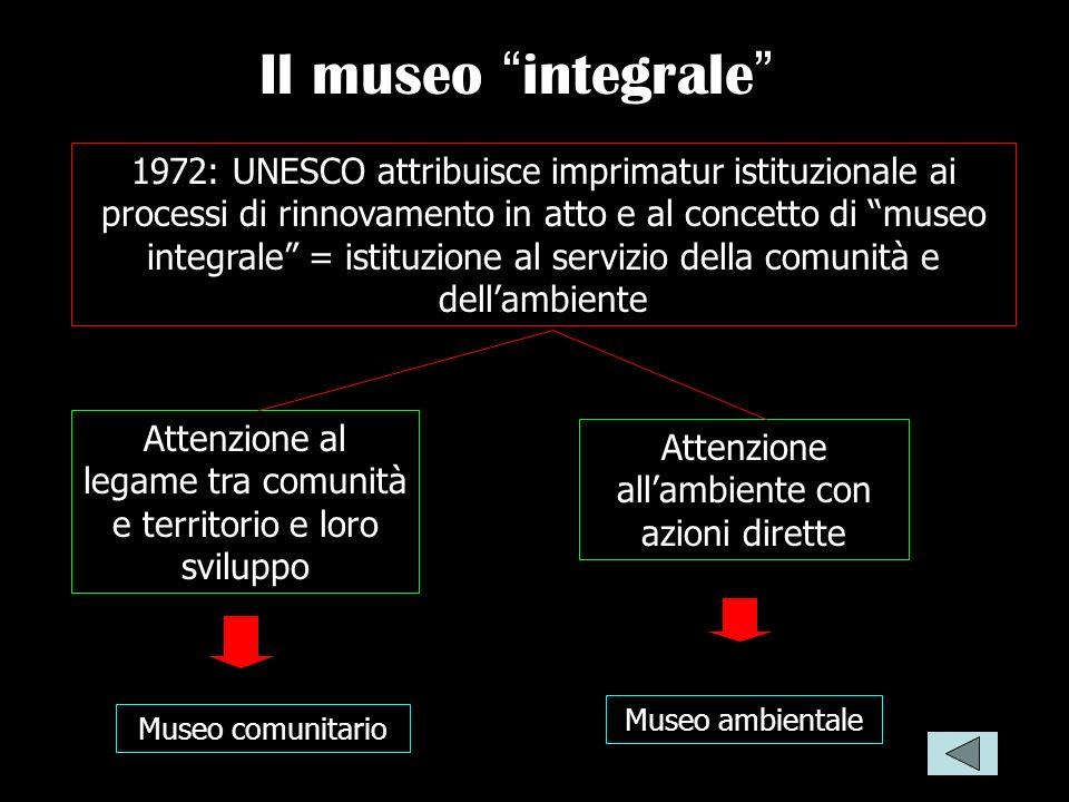Il museo integrale 1972: UNESCO attribuisce imprimatur istituzionale ai processi di rinnovamento in atto e al concetto di museo integrale = istituzion