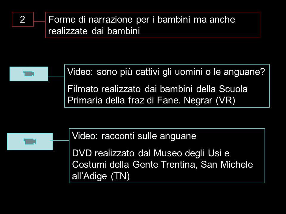 2Forme di narrazione per i bambini ma anche realizzate dai bambini Video: sono più cattivi gli uomini o le anguane.