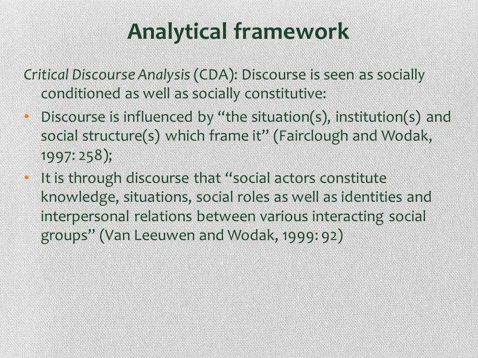 Analytical framework Critical Discourse Analysis (CDA): Discourse is seen as socially conditioned as well as socially constitutive: Discourse is influ