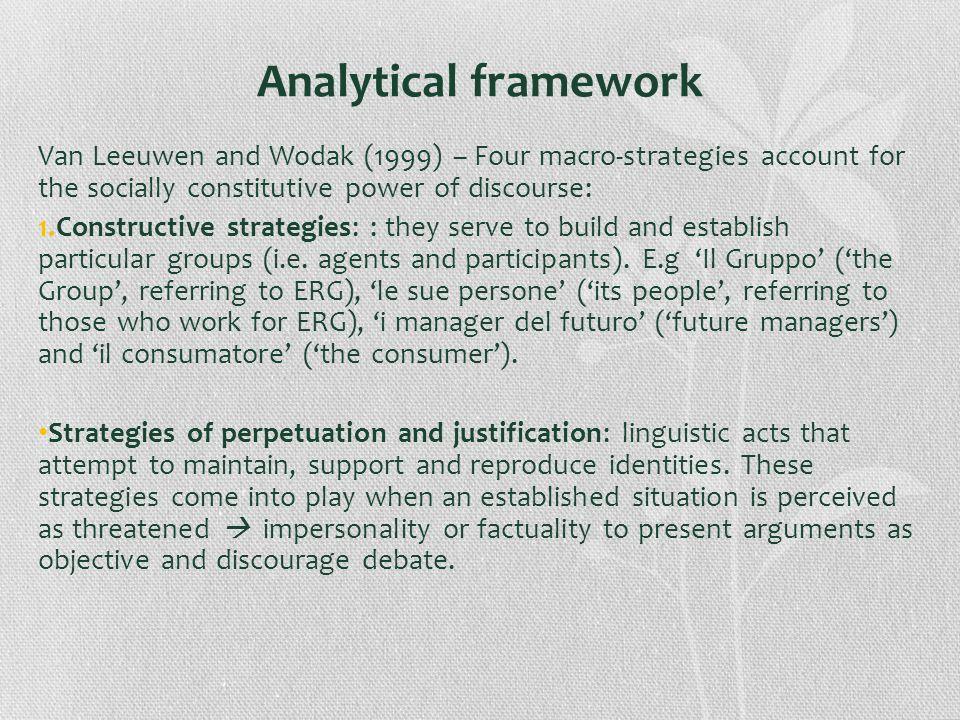Analytical framework Van Leeuwen and Wodak (1999) – Four macro-strategies account for the socially constitutive power of discourse: 1.Constructive str