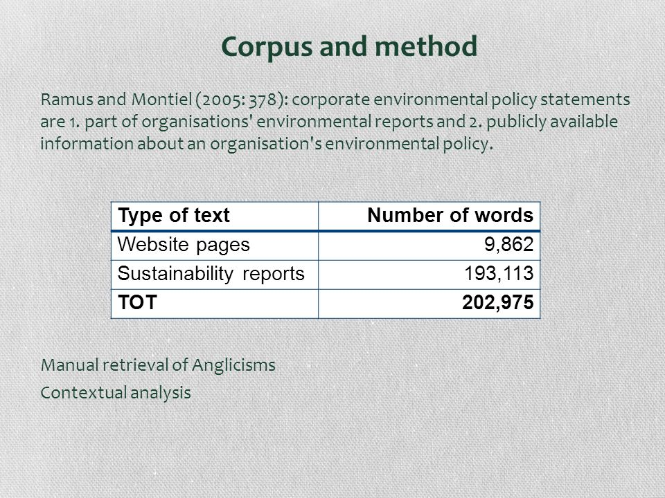 Corpus and method Ramus and Montiel (2005: 378): corporate environmental policy statements are 1. part of organisations' environmental reports and 2.