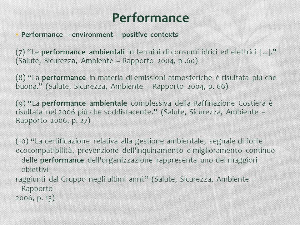 Performance Performance – environment – positive contexts (7) Le performance ambientali in termini di consumi idrici ed elettrici [...]. (Salute, Sicu