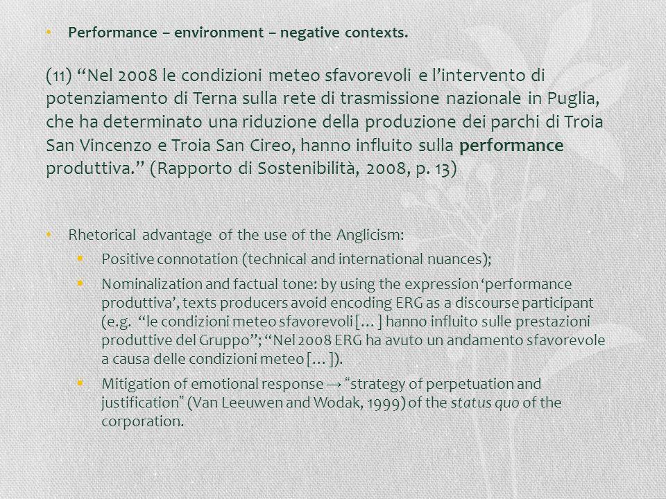 Performance – environment – negative contexts. (11) Nel 2008 le condizioni meteo sfavorevoli e lintervento di potenziamento di Terna sulla rete di tra