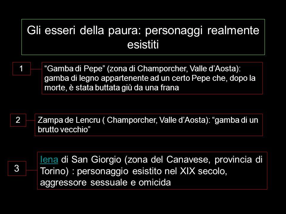 Gli esseri della paura: personaggi realmente esistiti 1Gamba di Pepe (zona di Champorcher, Valle dAosta): gamba di legno appartenente ad un certo Pepe che, dopo la morte, è stata buttata giù da una frana 2Zampa de Lencru ( Champorcher, Valle dAosta): gamba di un brutto vecchio IenaIena di San Giorgio (zona del Canavese, provincia di Torino) : personaggio esistito nel XIX secolo, aggressore sessuale e omicida 3