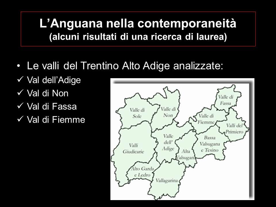 LAnguana nella contemporaneità (alcuni risultati di una ricerca di laurea) Le valli del Trentino Alto Adige analizzate: Val dellAdige Val di Non Val di Fassa Val di Fiemme