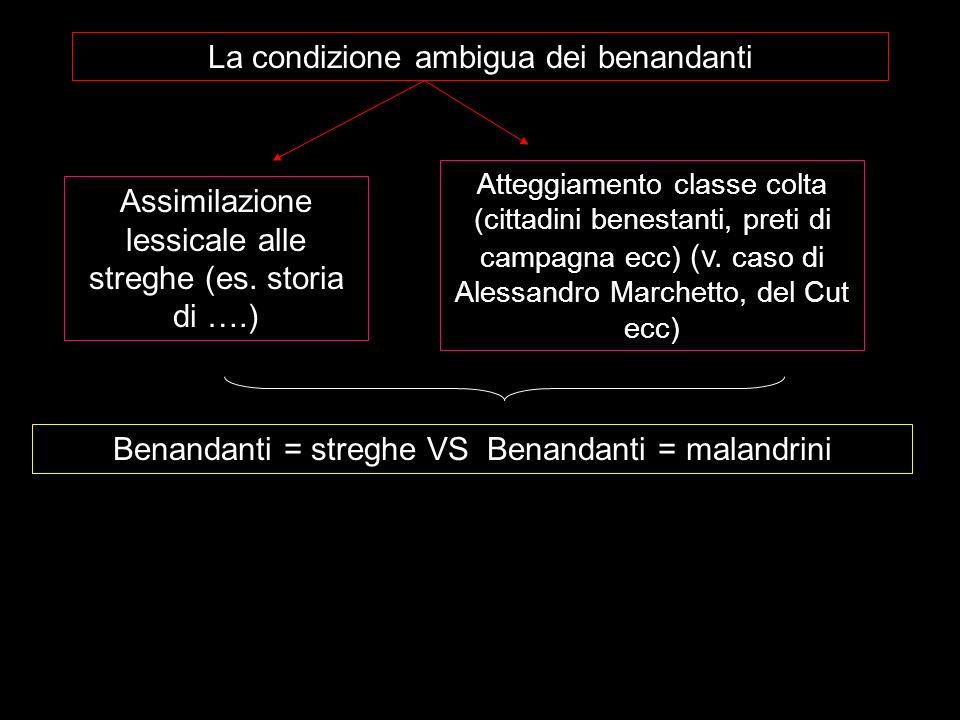 La condizione ambigua dei benandanti Assimilazione lessicale alle streghe (es. storia di ….) Atteggiamento classe colta (cittadini benestanti, preti d