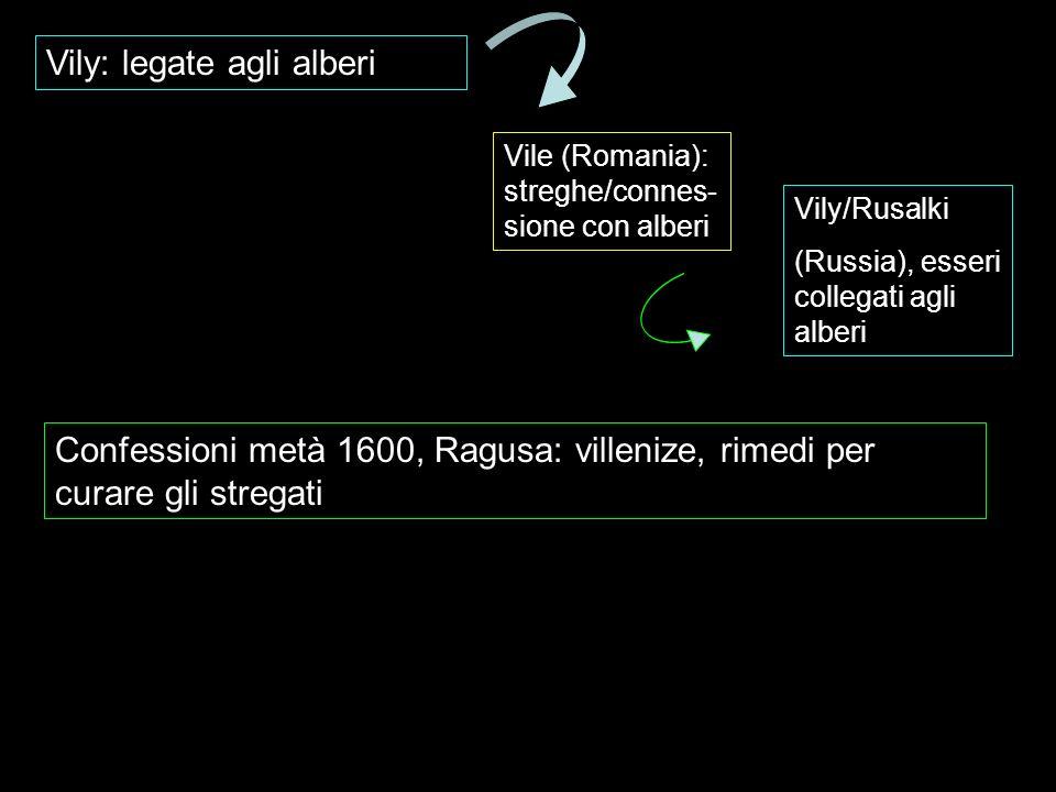 Vily: legate agli alberi Vile (Romania): streghe/connes- sione con alberi Vily/Rusalki (Russia), esseri collegati agli alberi Confessioni metà 1600, R