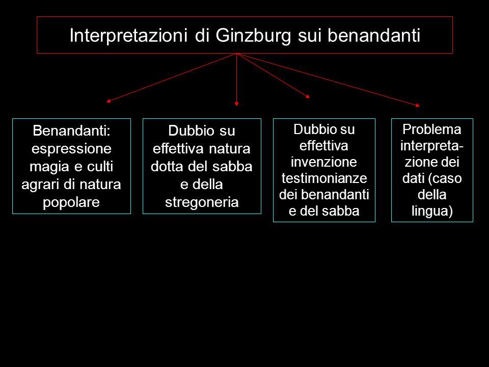 Interpretazioni di Ginzburg sui benandanti Dubbio su effettiva invenzione testimonianze dei benandanti e del sabba Benandanti: espressione magia e cul