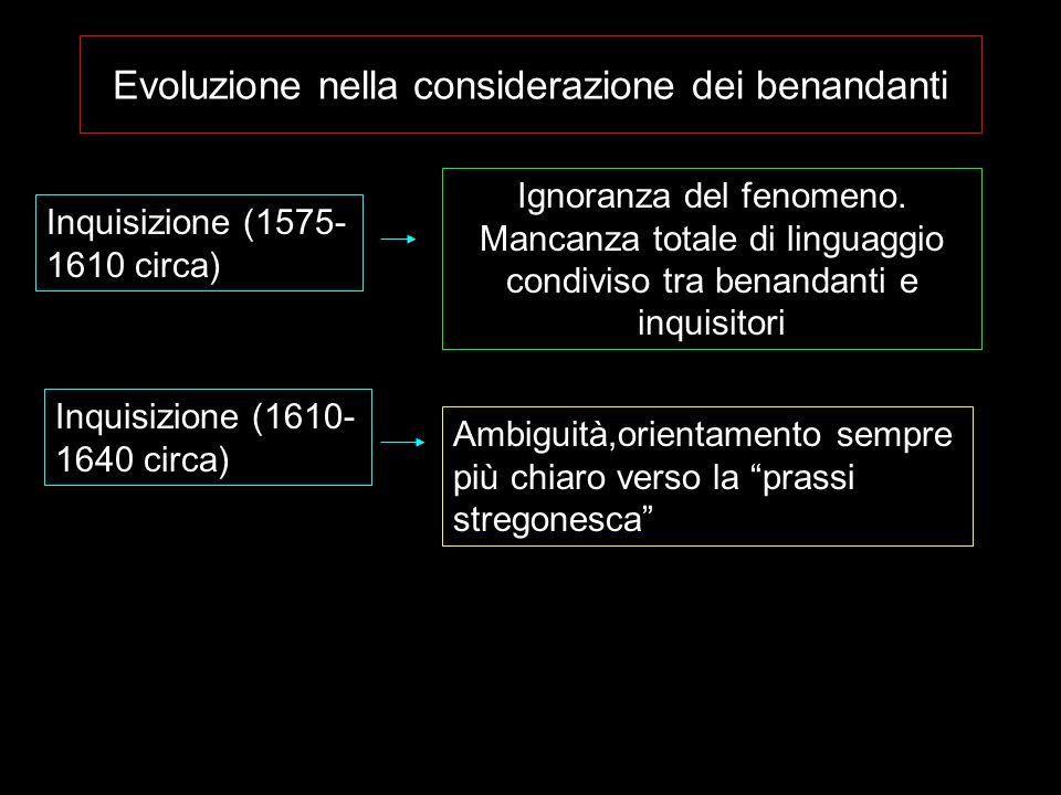 Evoluzione nella considerazione dei benandanti Inquisizione (1575- 1610 circa) Ignoranza del fenomeno. Mancanza totale di linguaggio condiviso tra ben