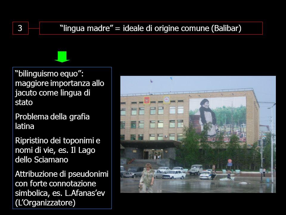 3lingua madre = ideale di origine comune (Balibar) bilinguismo equo: maggiore importanza allo jacuto come lingua di stato Problema della grafia latina