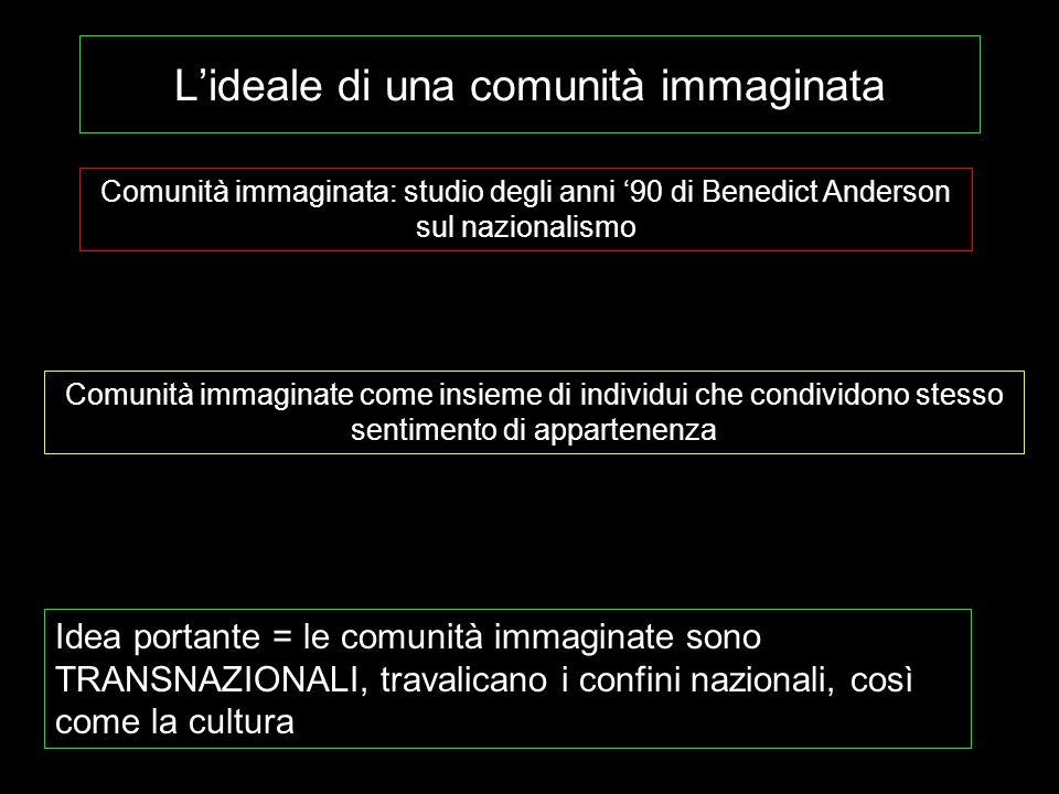 Lideale di una comunità immaginata Comunità immaginata: studio degli anni 90 di Benedict Anderson sul nazionalismo Comunità immaginate come insieme di
