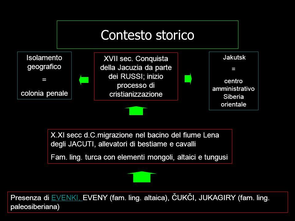 Contesto storico Presenza di EVENKI, EVENY (fam. ling. altaica), ČUKČI, JUKAGIRY (fam. ling. paleosiberiana)EVENKI, X.XI secc d.C.migrazione nel bacin