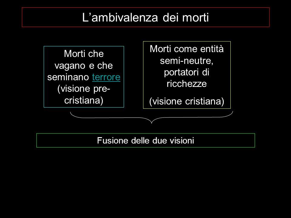 Lambivalenza dei morti Morti che vagano e che seminano terrore (visione pre- cristiana)terrore Morti come entità semi-neutre, portatori di ricchezze (