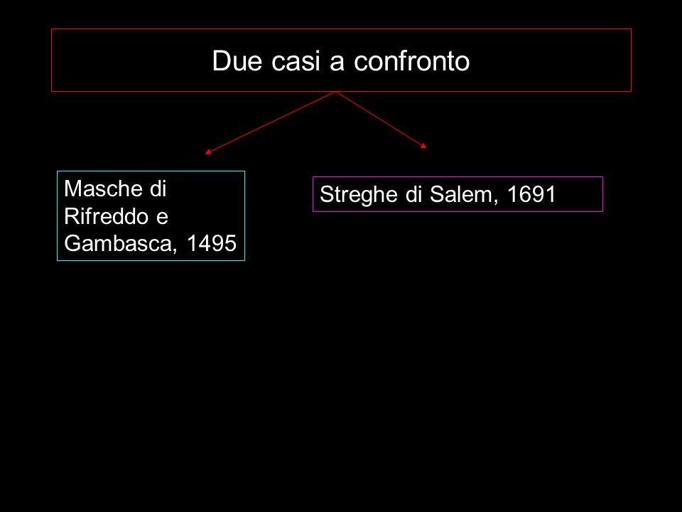 Due casi a confronto Masche di Rifreddo e Gambasca, 1495 Streghe di Salem, 1691