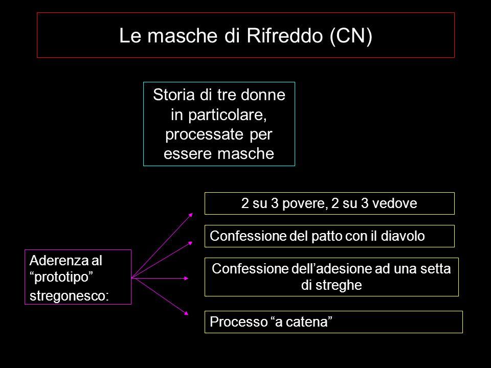 Le masche di Rifreddo (CN) Storia di tre donne in particolare, processate per essere masche Aderenza al prototipo stregonesco: 2 su 3 povere, 2 su 3 v
