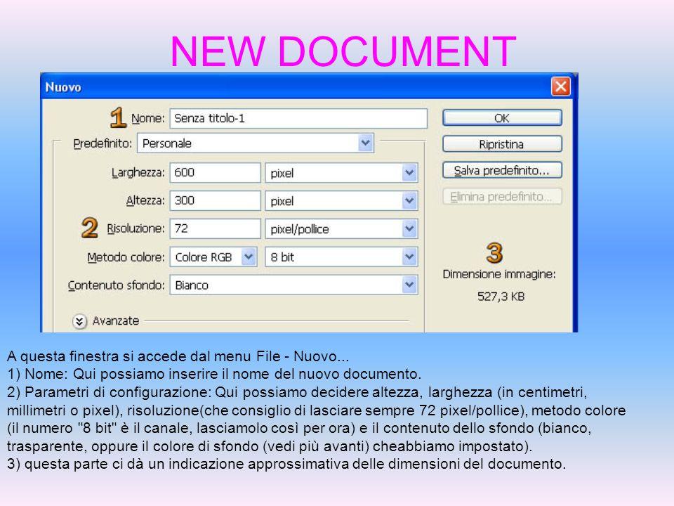 NEW DOCUMENT A questa finestra si accede dal menu File - Nuovo... 1) Nome: Qui possiamo inserire il nome del nuovo documento. 2) Parametri di configur