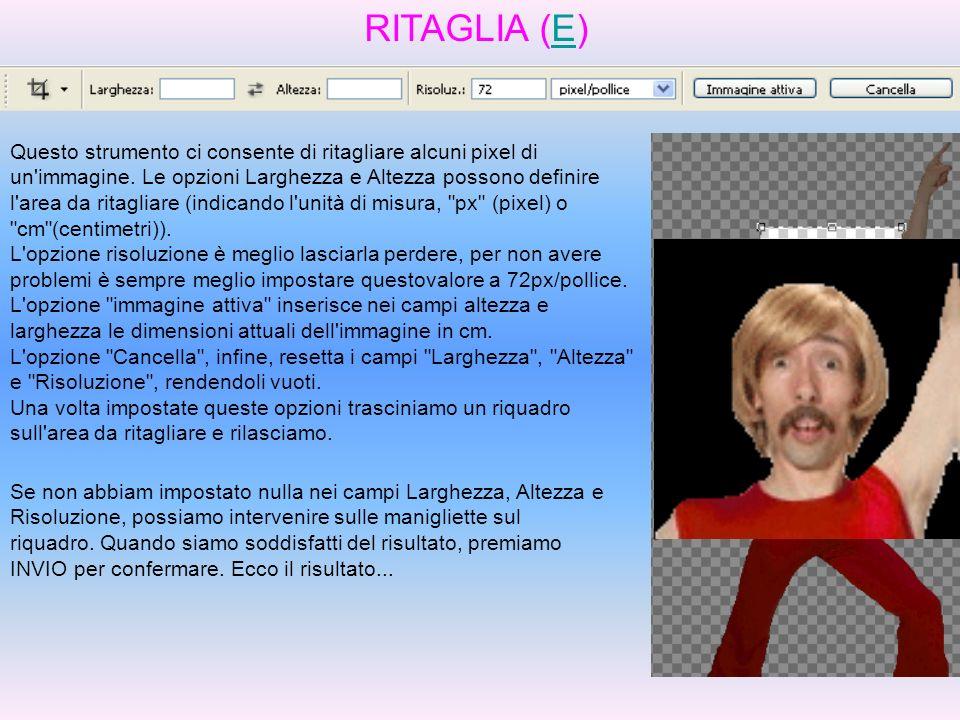 RITAGLIA (E)E Questo strumento ci consente di ritagliare alcuni pixel di un'immagine. Le opzioni Larghezza e Altezza possono definire l'area da ritagl