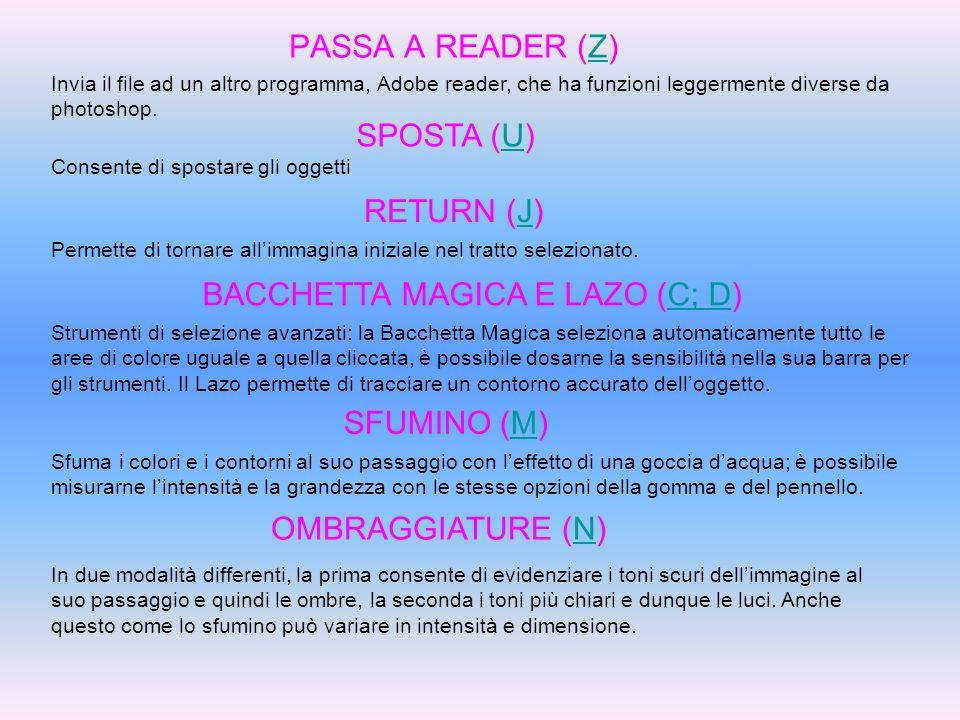 PASSA A READER (Z)Z Invia il file ad un altro programma, Adobe reader, che ha funzioni leggermente diverse da photoshop. SPOSTA (U)U Consente di spost