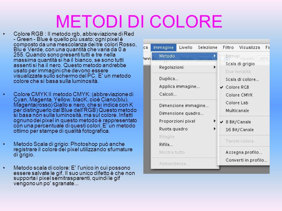 METODI DI COLORE Colore RGB : Il metodo rgb, abbreviazione di Red - Green - Blue è quello più usato; ogni pixel è composto da una mescolanza dei tre c