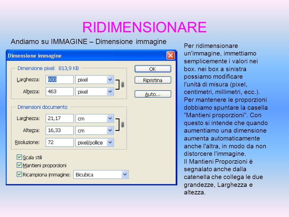 RIDIMENSIONARE Andiamo su IMMAGINE – Dimensione immagine Per ridimensionare un'immagine, immettiamo semplicemente i valori nei box. nei box a sinistra
