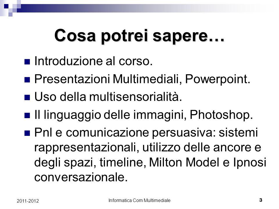 Informatica Com Multimediale 3 2011-2012 Cosa potrei sapere… Introduzione al corso.